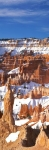 Panoramic photo of the snowy ridges of Bryce Canyon during winter in Utah, USA.