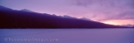 Panorama stock photo of a Lake in Jasper National Park in Albertas Rocky Mountains on a cold winter day