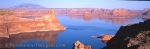 Panoramic photo of the steep formations along the banks of Lake Powell in Utah, USA.