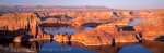 Panoramic photo of a sunset at Lake Powell in Utah, USA