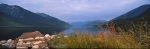 Panoramic photo of Slocan Lake from Valhalla Provincial Park in BC, Canada.