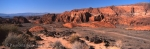 Panoramic photo of rock formations in Snow Canyon State Park in Utah, USA.