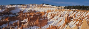 Winter panoramic photo of Bryce Canyon National Park in Utah, USA