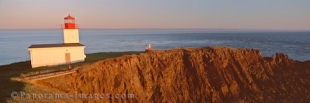 Panoramic photo of the beautiful Cape D' Or Lighthouse overlooking the Bay of Fundy in Nova Scotia.