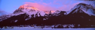 Panoramic photo of mountains surrounding the town of Field in the Yoho Natonal Park, British Columbia, Canada.