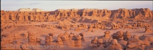 Panoramic photo of the beautiful and mystical Goblin Valley State Park in Utah, USA