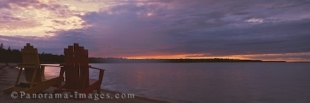 Panoramic photo of sunset over Lake Huron in Ontario, Canada.