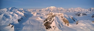 Aerial panoramic photo of glaciers around Mount Logan in Kluane National Park in the Yukon, Canada.