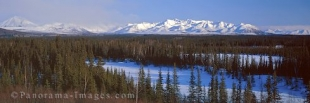 Panoramic Photo of the St. Elias Mountains in winter in Alaska