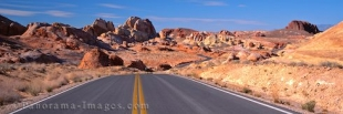 Panoramic stock photo of a road leading into the Valley of Fire near las Vegas in the US State Nevada