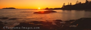 Panoramic photo of a sunset on the west coast of Vancouver Island in british Columbia, Canada