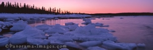 Panoramic photo of pack ice on the ocean shores at sunset, Newfoundland, Canada.